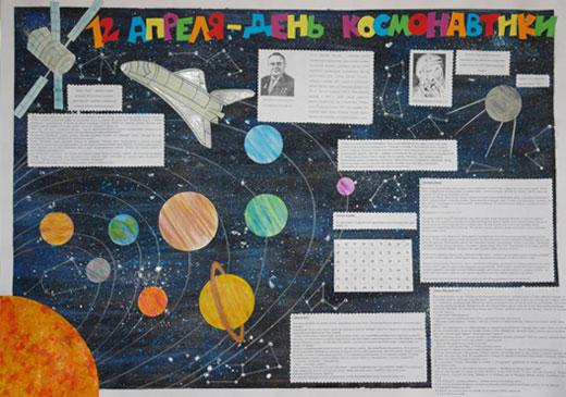 Плакат ко дню космонавтики своими руками 52